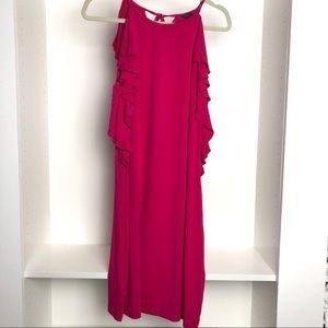 New Ann Taylor Dark Pink Dress with Ruffles Sz 10